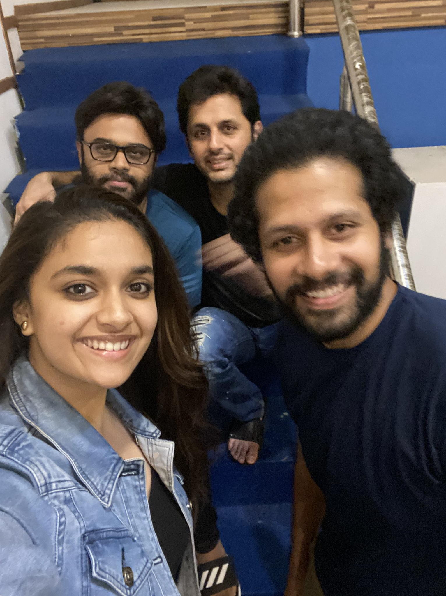 Keerthy Suresh in Blue Awesome Lovely Smile with Nithiin and RangDe Team 1