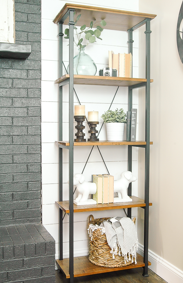 modern farmhouse bookshelf, bookshelf styling, ikea