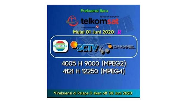 Transponder Frekuensi TP Channel Telkom 4 sctv indosiar dan ochannel 1 juli 2020