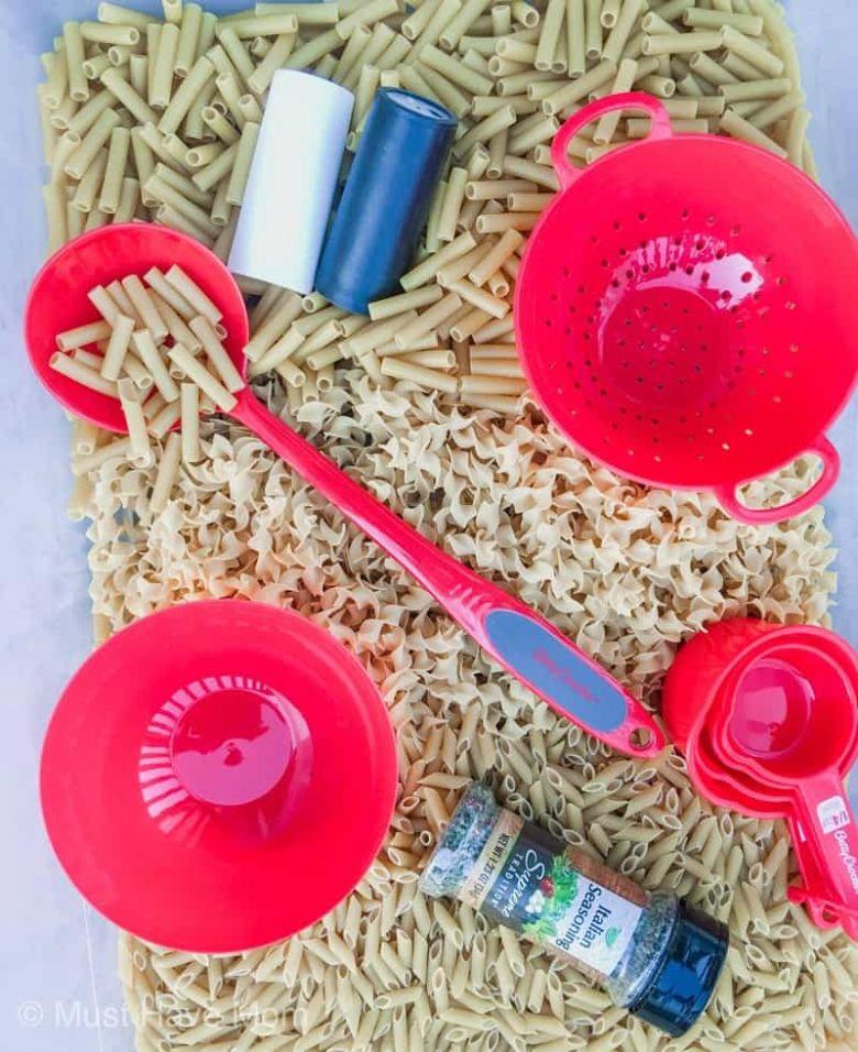 indoor activities for kids - pasta sensory bin