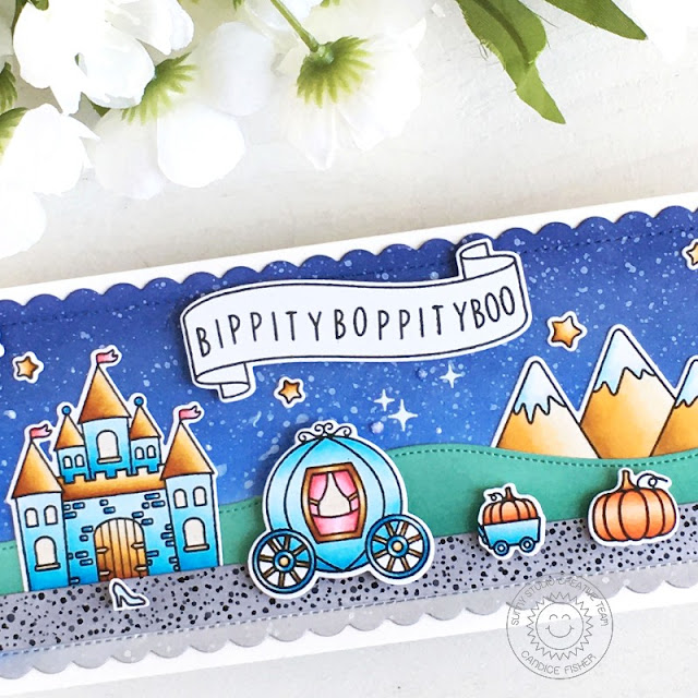 Sunny Studio Stamps: Enchanted Spring Scenes Banner Basics Fall Kiddos Frilly Frames Woodland Borders Fairy Tale Themed Card by Candice Fisher