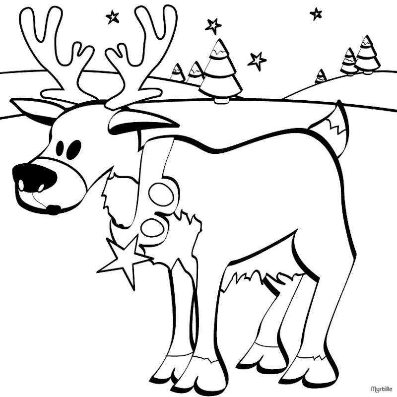 Cartoon Christmas Reindeer coloring page | Free Printable Coloring ... | 800x800