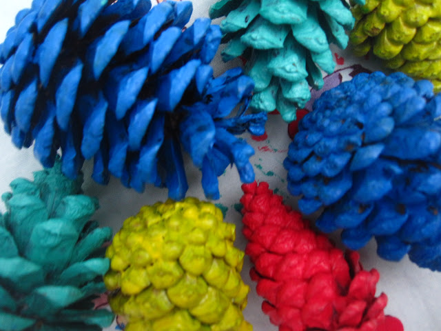 Painted pine cones