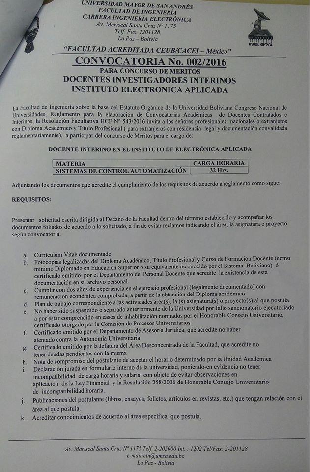 Convocatoria docentes investigadores interinos instituto for Convocatoria para concurso docente 2016