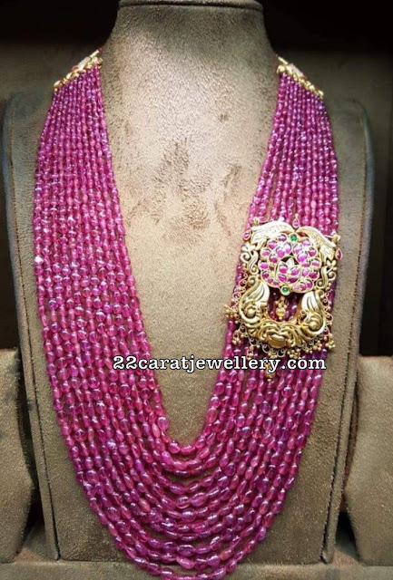 Rich Ruby Beads Haram Antique Side Pendant