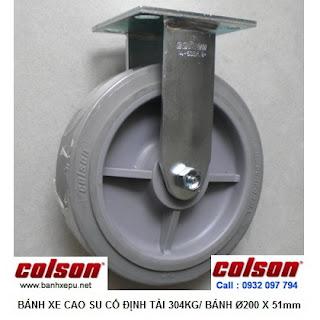 Bánh xe cao su đặc Colson càng cố định phi 200 chịu lực | 4-8198-459 www.banhxepu.net