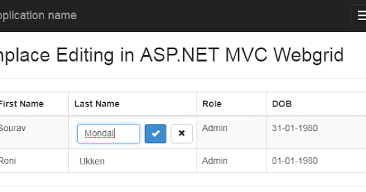 Part 1 - Basic Inplace editing in asp.net MVC webgrid