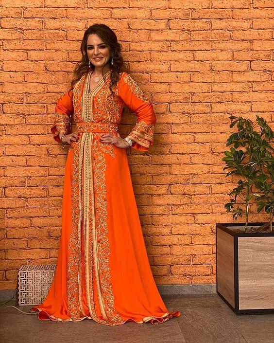 caftan orange mariage de luxe
