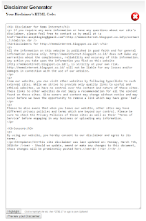 Hasil Disclaimer untuk blog atau situs yang anda masukan identitasnya