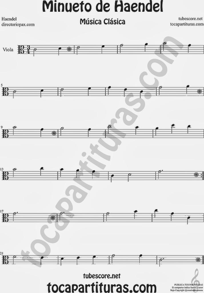 Minueto de Händel Partitura de Trompeta y Fliscorno by Handel Easy Minuet Sheet Music for Trumpet and Flugelhorn Music Score  Minueto de Haendel Partitura de Viola Minuet Sheet Music for Viola Music Scores Minuet