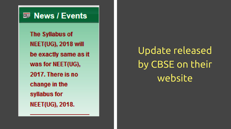 CBSE Update on NEET syllabus
