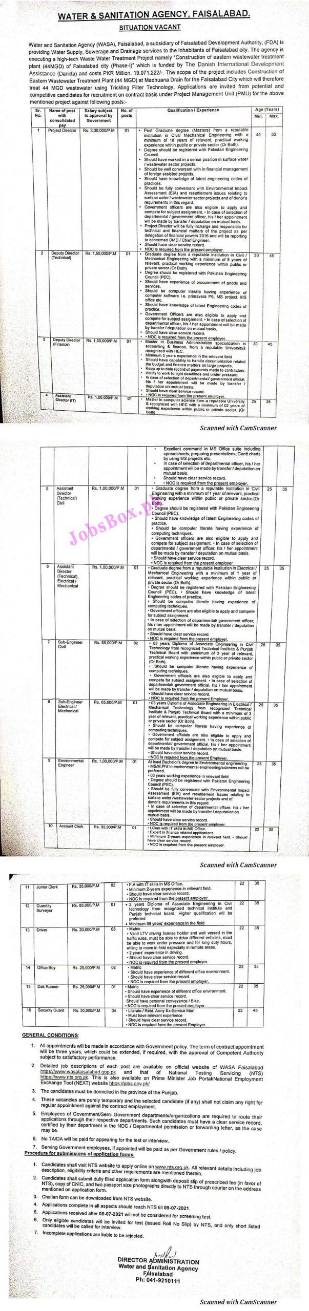 Water and Sanitation Agency WASA Faisalabad Jobs 2021 Apply Online via www.nts.org.pk - WASA FSD Jobs 2021