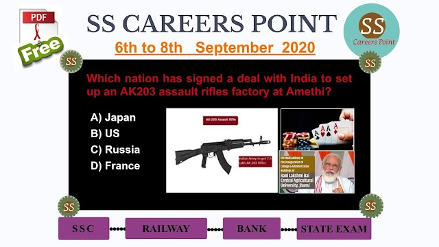 6th to 8th  September 2020 CURRENT AFFAIRS
