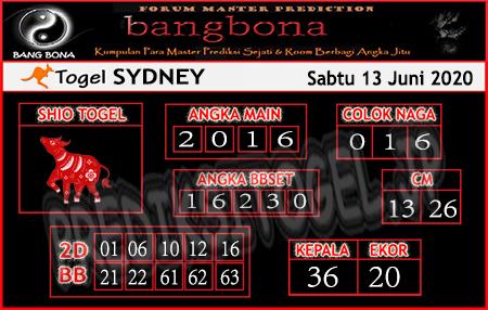 Prediksi Sydney Sabtu 13 Juni 2020 - Bang Bona