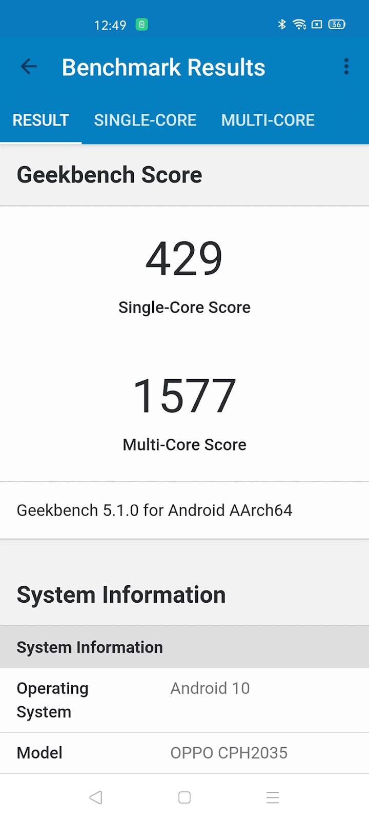 OPPO Reno3 Pro GeekBench 5 score