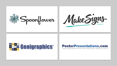 Logos of Spponflower, MakeSignes, Genigraphics, PosterPresentations