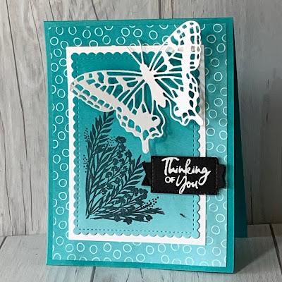 Butterfly Brilliance card idea using Bermuda Bay Cardstock