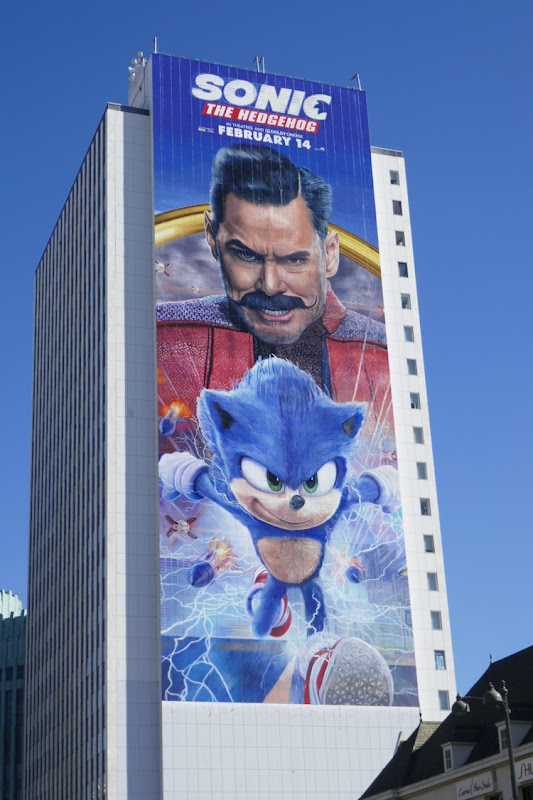 Giant Sonic the Hedgehog movie billboard