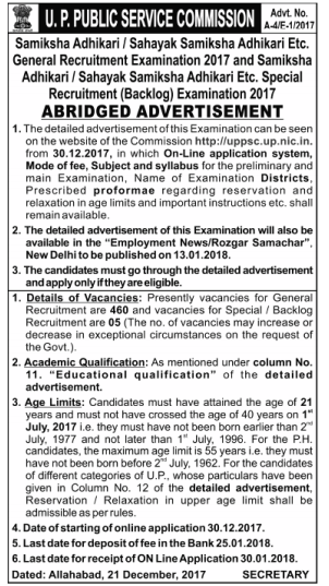 Uttar Pradesh Public Service Commission UPPSC Recruitment Notification 2018