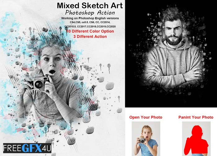 Mixed Sketch Art Photoshop Action
