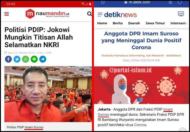 Politikus PDIP yang Sebut Jokowi Titisan Tuhan Meninggal karena Corona