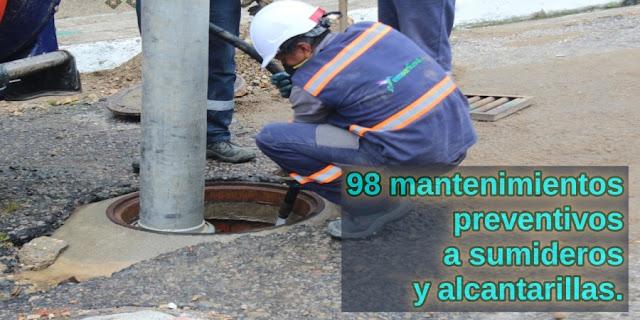 EMSERFUSA E.S.P. realizó más de 98 mantenimientos preventivos a sumideros y alcantarillas.