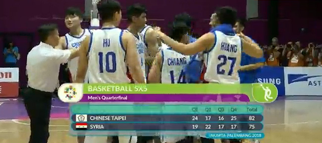 Chinese Taipei def. Syria, 82-75 (VIDEO) 2018 Asian Games Men's Basketball Quarterfinals