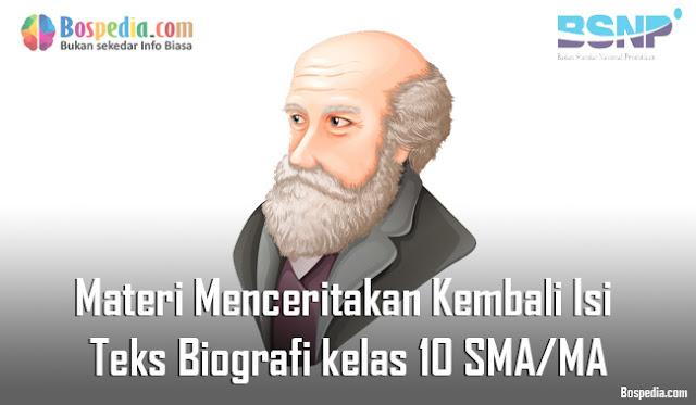 Materi Menceritakan Kembali Isi Teks Biografi Baik Lisan Maupun Tulis Mapel Bahasa Indonesia kelas 10 SMA/MA