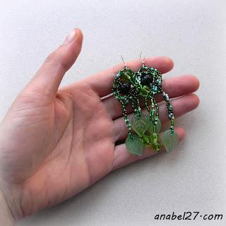 купить украшения в стиле бохо зеленые серьги из бисера
