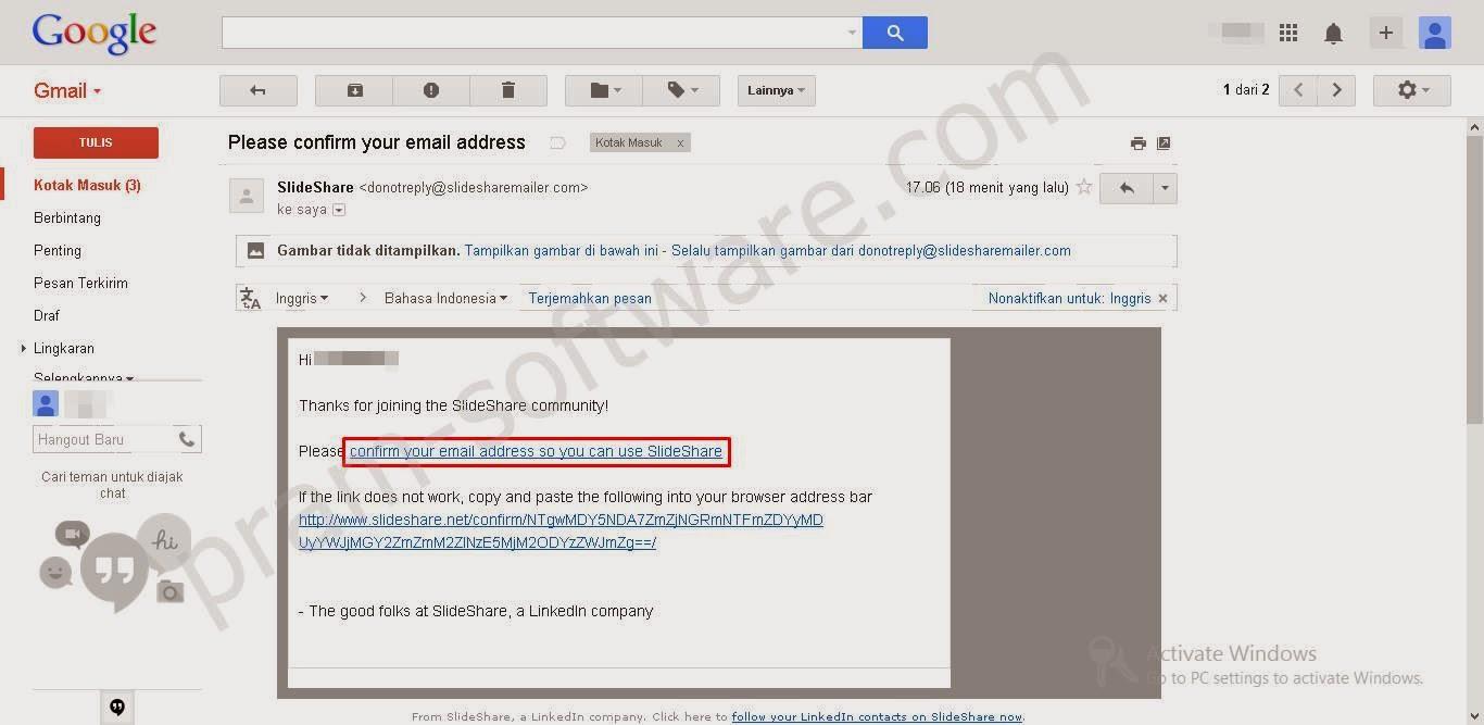 Konfirmasi Email untuk akun Slideshare