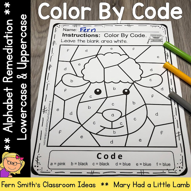 Mary Had a Little Lamb Themed Color By Code Remediation for Struggling Kindergarteners Know Your Alphabet Resource