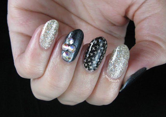 Birthday Nails with Swarovski Crystals, Zoya Cosmo and Stamping
