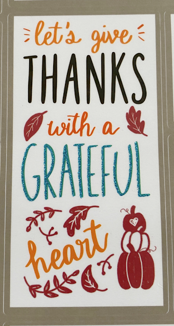 fall decal window cling Let's Give Thanks With A Grateful Heart
