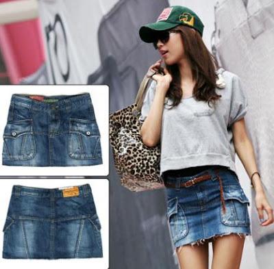 Foto de una falda corta jean con bolsillos adelante