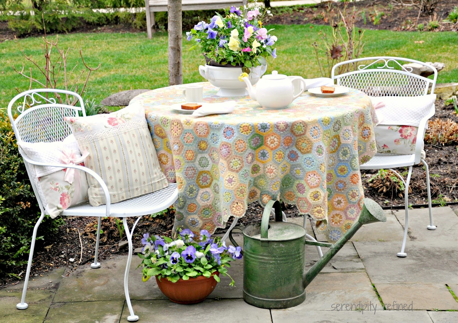 serendipity refined blog: white spray painted metal patio furniture