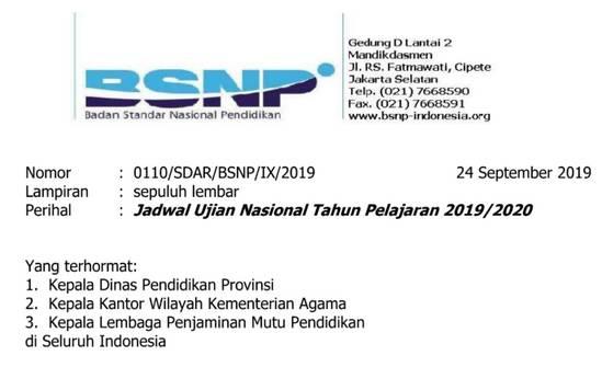 Jadwal UN (UNBK-UNKP) Tahun 2019-2020