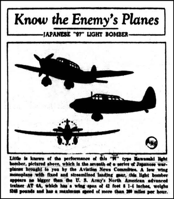 Know The Enemy's Planes, The Longview, Texas News Journal Newspaper, April 16, 1942