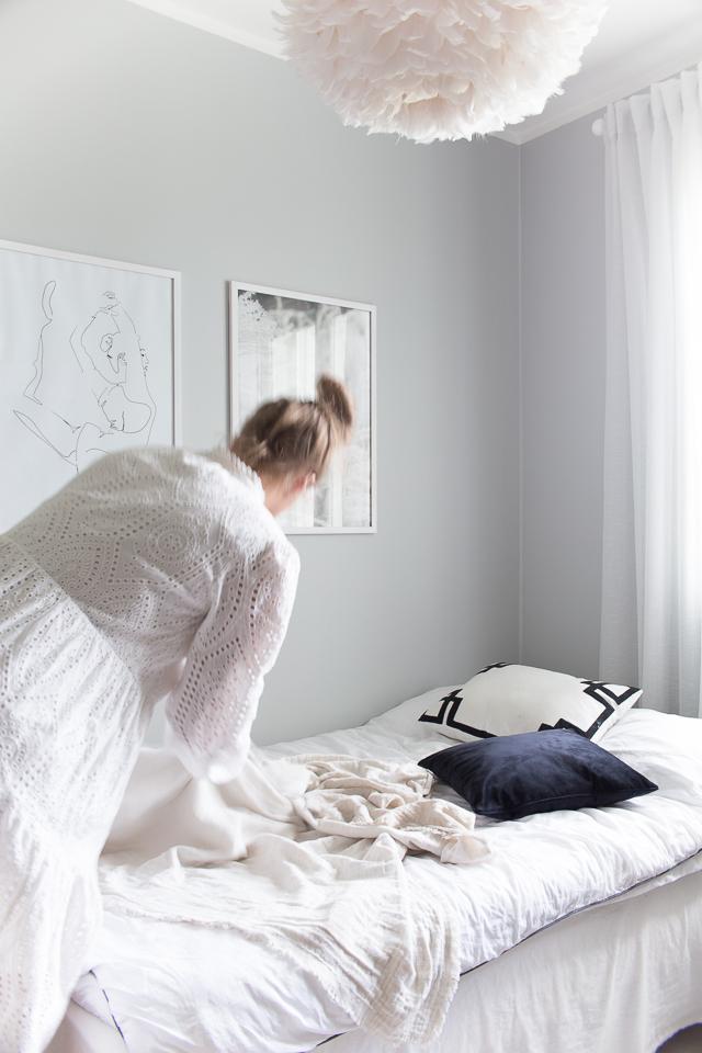 Villa H, makuuhuone, vierashuone, sisustaminen