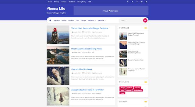 Vienna Lite 2 Premium Template Blogger