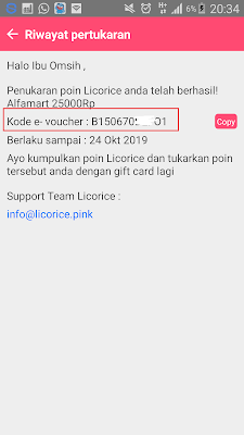 Voucher Alfamart Gratis dari Aplikasi Licorice Android