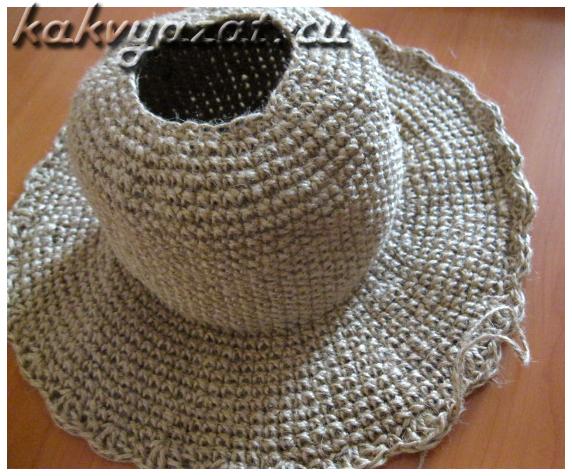 Вязание крючком шляпки из джута, фото работы.