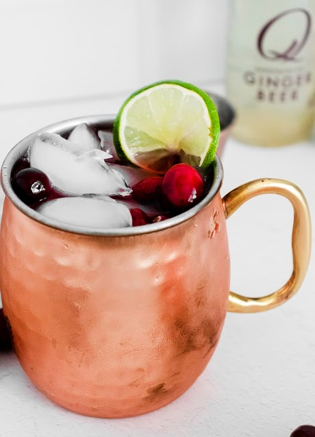 Cranberry Moscow Mule with ginger beer