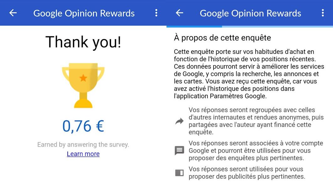 Google Opinion Rewards application Android /iOS pour gagner de l'argent