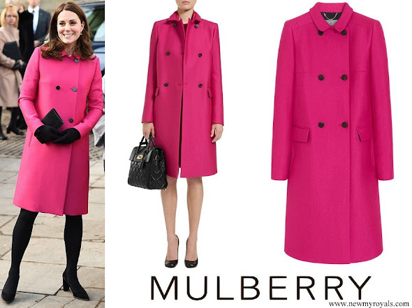 Kate Middleton wore Mulberry Double Breasted Coat