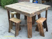 Handmade Rustic & Log Furniture Pub Style Table And Stool Set
