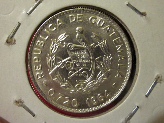 1964 Guatemala 10 Centavos silver coin — obverse side