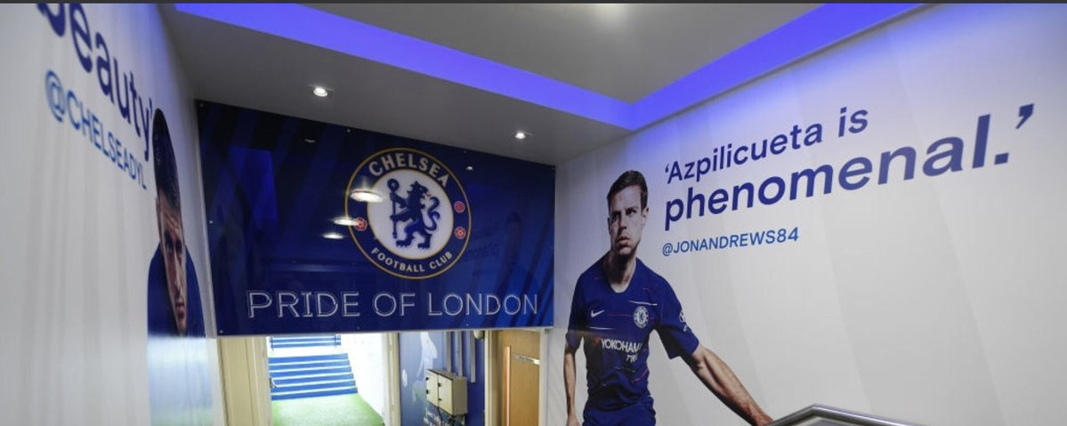 Chelsea have fans' tweets plastered on walls of Stamford Bridge tunnel