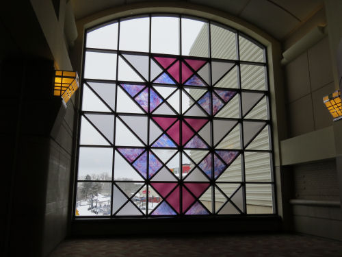 colored glass window in Lansing Center