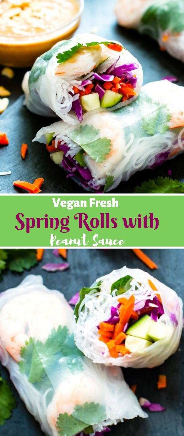 Vegan Fresh Spring Rolls with Peanut Sauce #Vegan #Fresh #Spring #Rolls #with #Peanut #Sauce Vegan Recipes Easy, Vegan Recipes Healthy, Vegan Recipes Dinner, Vegan Recipes Fall, Vegan Recipes For Weight Loss,