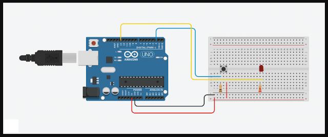 Menyalakan Dan Mematikan LED Dengan Satu Tombol | Program Arduino